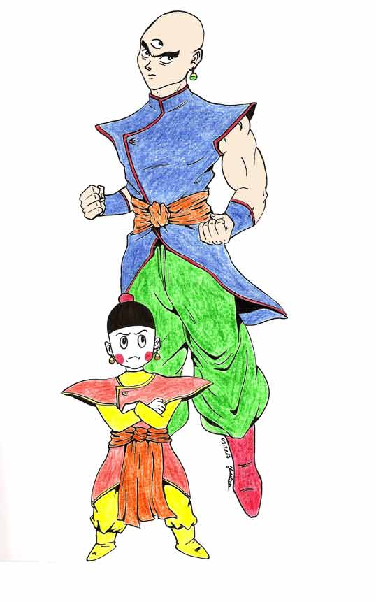 Dessin colorié de Tenshinhan et Chaozu - Dragon Ball Super