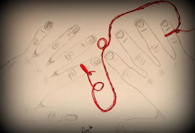 lola mento, ilustraciones lola mento, hilo rojo, destino, almas gemelas, cuadros decorativos