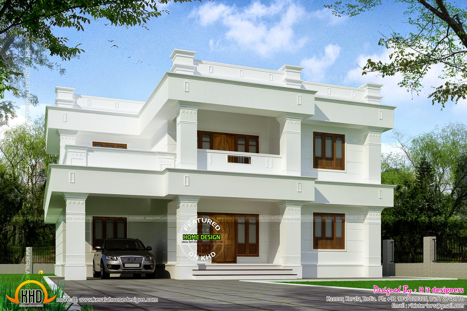 Flat roof 305 square yards house kerala home design and for Modern 3 bedroom house