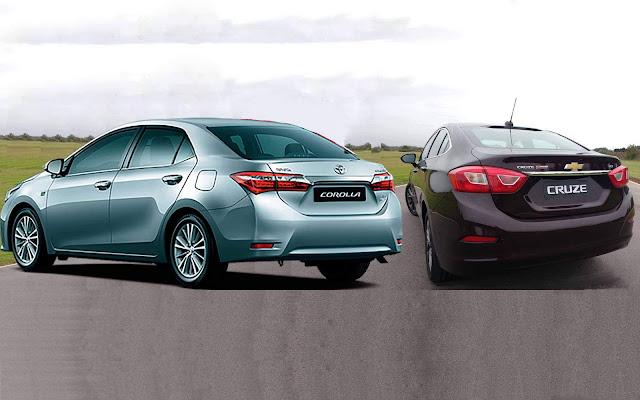 Chevrolet Cruze 2017 x Toyota Corolla - traseiras
