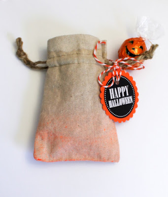SRM Stickers Blog - Dipped Dyed Linen Bag by Shantaie - #linen #bags #halloween #stickers #twine #partyfavors #DIY