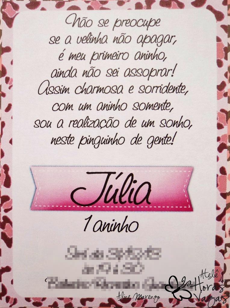 Ateliê Das Horas Vagas Aline Barbosa Convite Oncinha Rosa Princesa