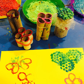 Autumn fruits motor-skills home made stencil painting activity