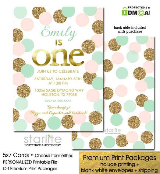 https://starwedd.com/product/1st-birthday-invitation-girl-blush-pink-mint-gold-glitter-first-birthday-dots/
