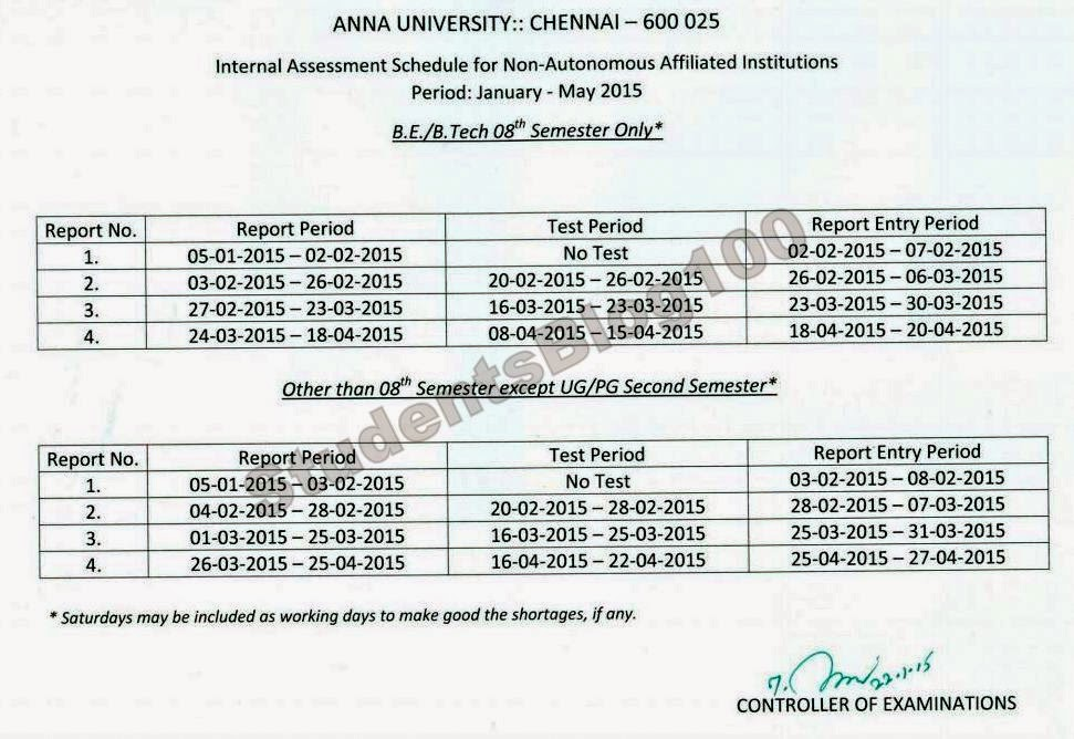 Internal Exam Schedule for UG/PG 4th 6th 8th sem students
