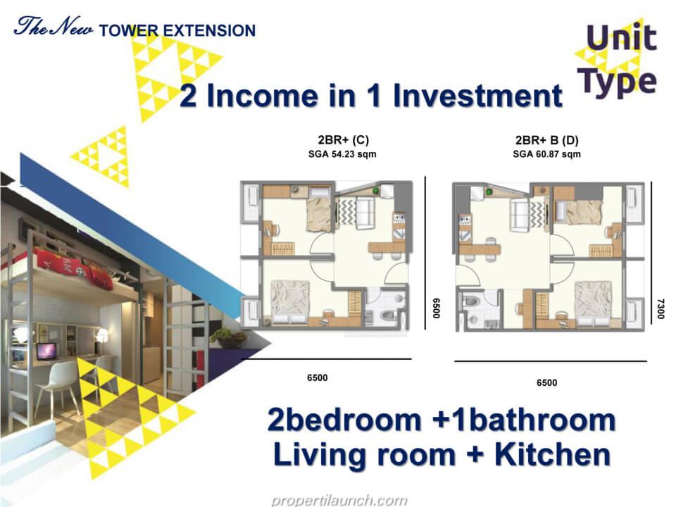 Apartemen 2BR+ Evenciio Margonda
