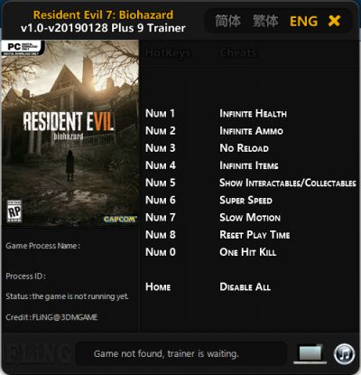 Trainer Cheat Resident Evil 7: Biohazard