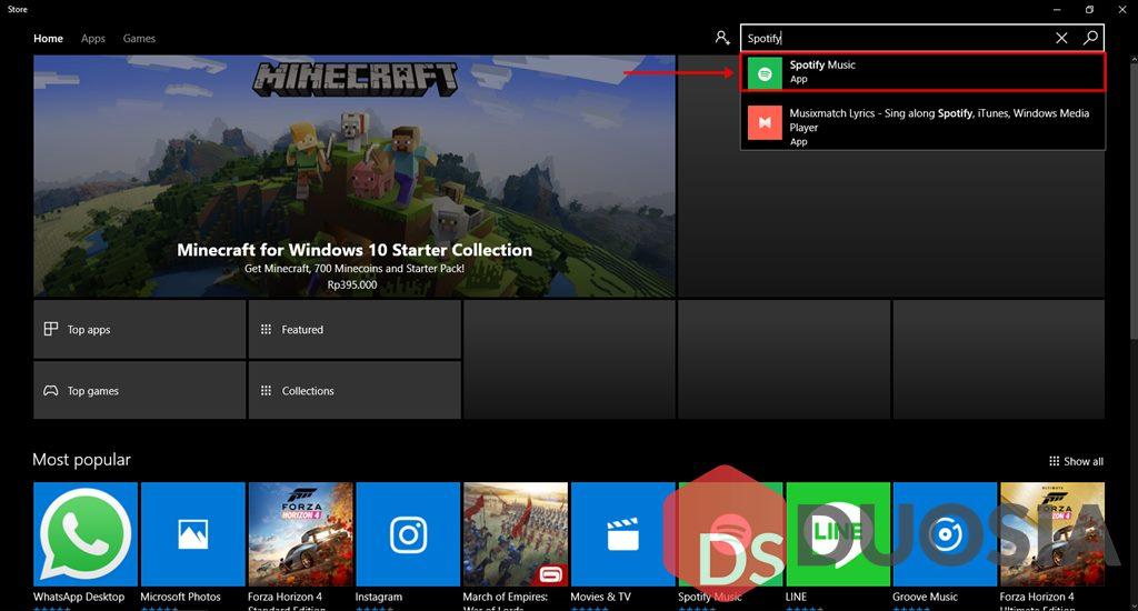 Cara Memasang Aplikasi Spotify dengan Microsoft Store