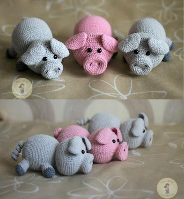 Вязаные свинки крючком амигуруми