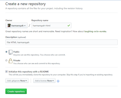 Create a new repository - Github