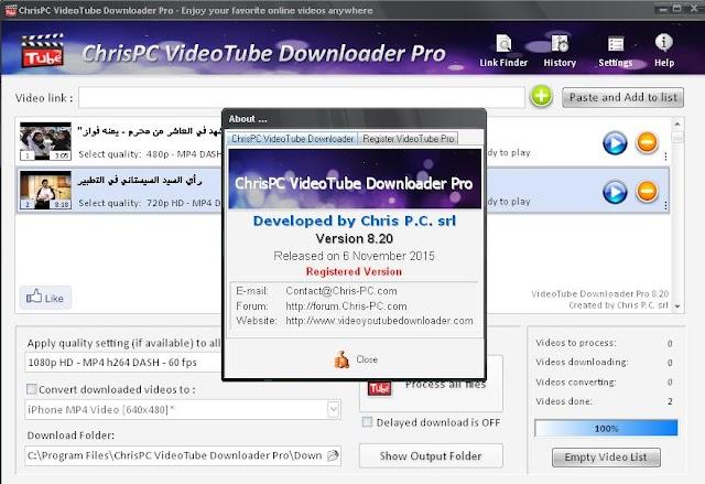 ChrisPC VideoTube Downloader Pro - tải video từ các nguồn trực tuyến về máy tính