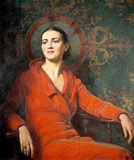 Alfred Egerton Cooper - Lady in red velvet