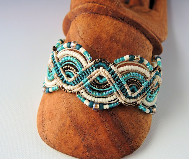Turquoise micro macrame bracelet by Knot Just Macrame.