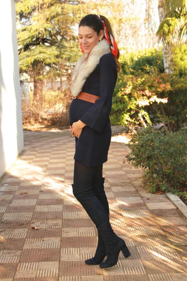 Moda pregnancy, estilo embarazada, vestido punto