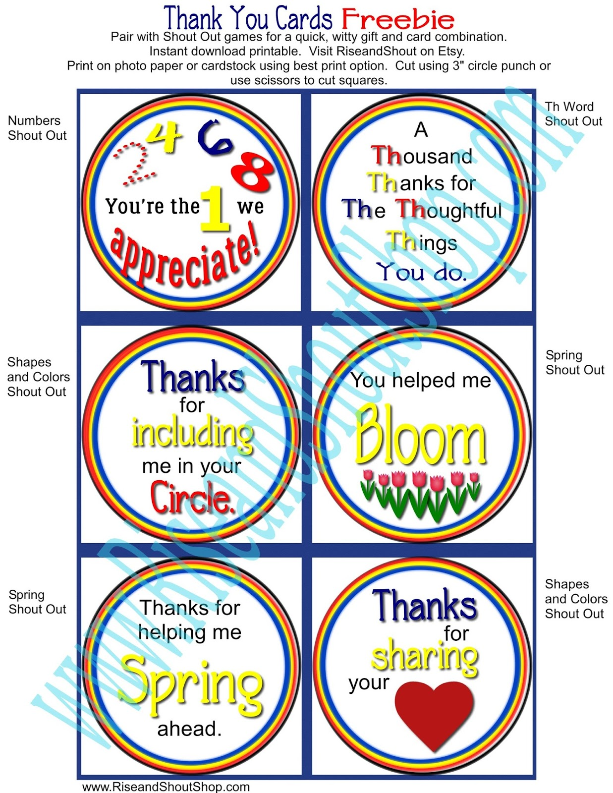 Rise And Shout Freebie Cards Teacher Appreciation Thank You
