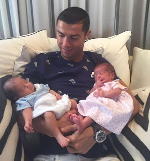 Cristiano ronaldo shares photo with his twins born by surrogate mother