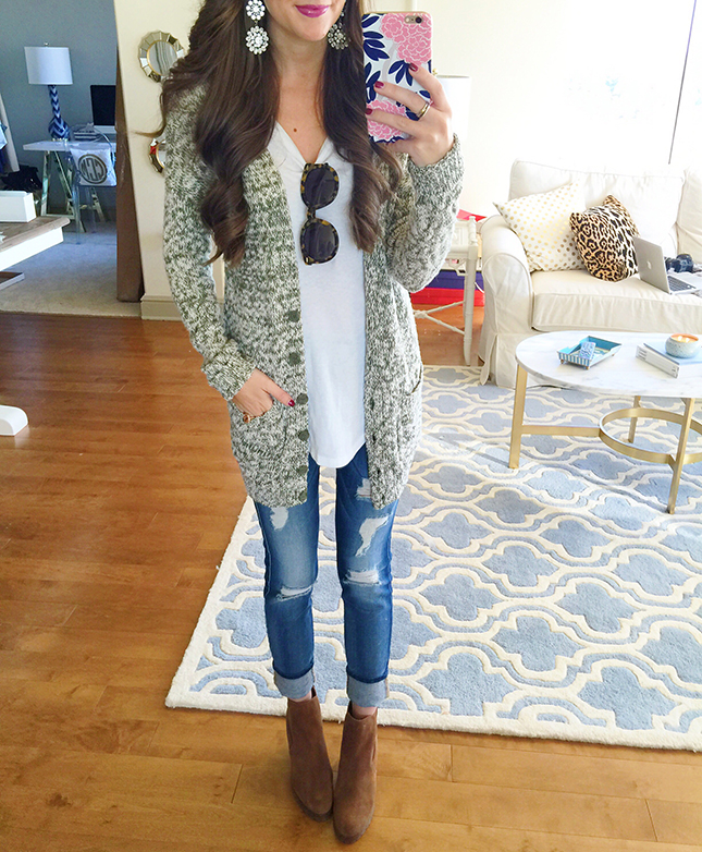 18a4f407ed4e marled cardigan (40% off!!)    white long sleeve tee (my favorite   only   18!) 7 for all Mankind distressed jeans    Michael Kors wedge booties (on  sale!!)