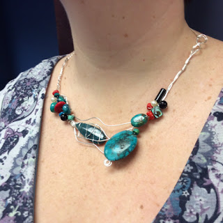 La Bella Gitana - Wirewrapped turquoise and coral necklace