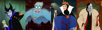 Maleficent, Ursual, The Evil Queen & Cruella De Vil, Disney Villainesses
