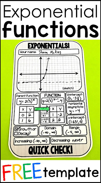 I love math templates! They have made my teaching life so much easier and have saved me a lot of time. This free math template is for graphig exponential functions. Algebra students graph their function then identify the parent function, the y-intercept, the x-intercept, the domain, range, if the  exponential graph shows growth or decay, and the increasing and decreasing intervals.