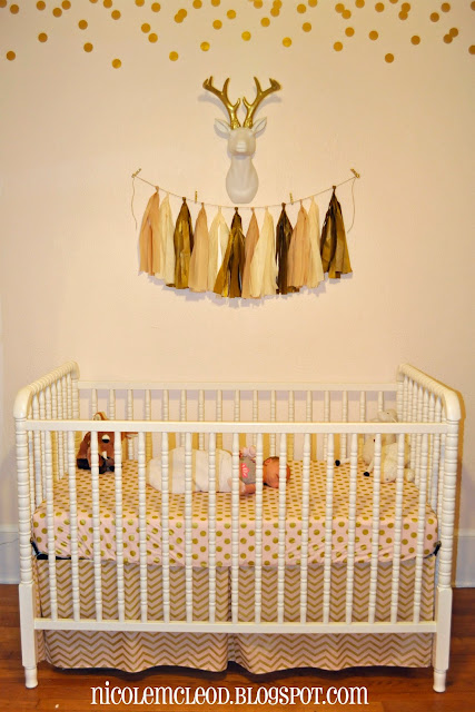 blush pink and gold baby girl nursery baby deer spotted fawn bambi chic sweet soft light pink deer bust metallic gold confetti wall decal banner custom name white changing table fabric decal gallery wall art print antlers wood wooden bust tissue tassel garland antique mood board design crib sheets bedding changing pad cover boppy pillow case figurines polk dots curtains crib chevron metallic crib skirt