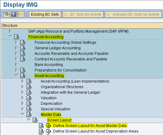 SAP - FICO MODULE LEARNING: Define Screen Layout for Asset