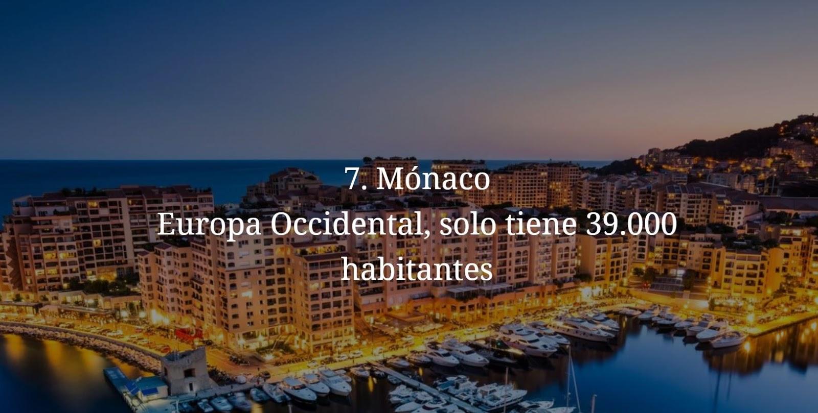 Monaco, paises mas pequeños y menos habitados del mundo