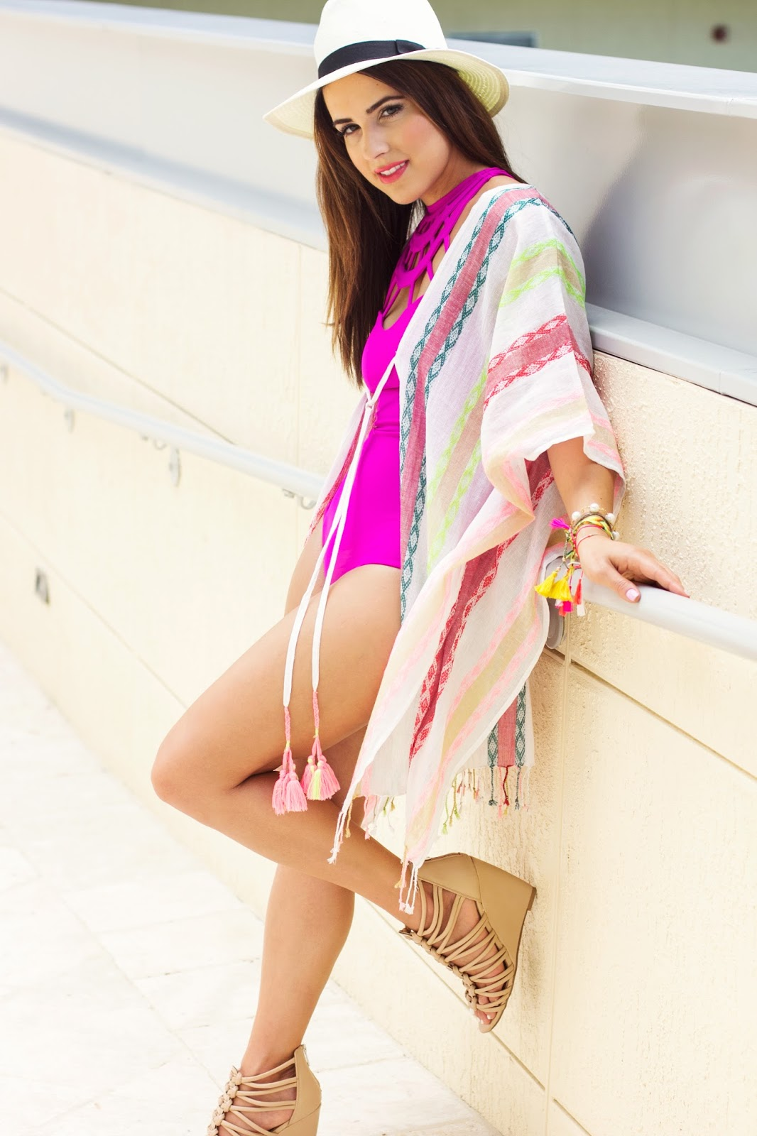 One piece Issa de Mar Swimsuit and Everything But Water Beach Coverup Kimono