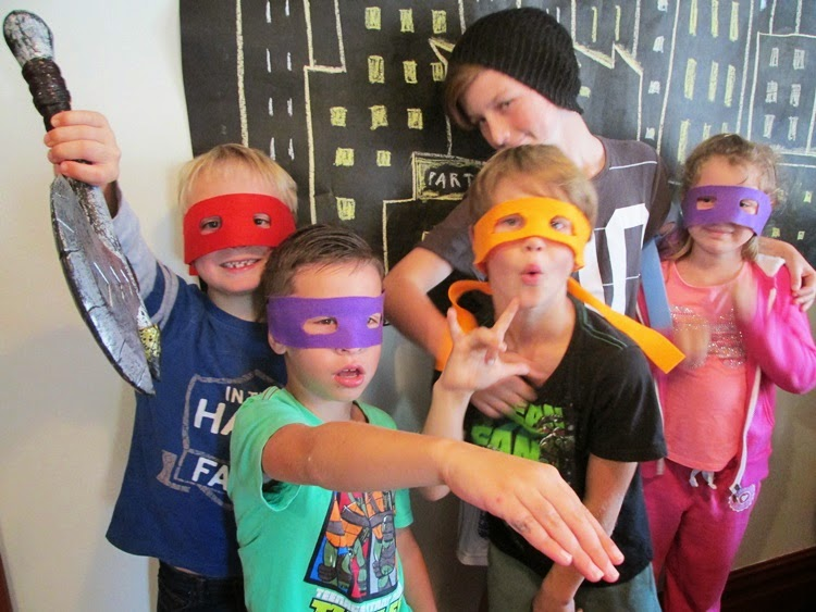 TMNT Party guests - favors were a felt Ninja turtle mask