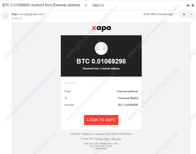 Bitcoin payment received to wallet
