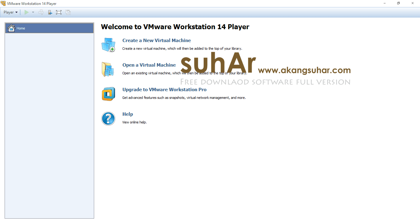 Free download VMware Workstation Player 14 full version terbaru gratis crack serial number patch keygen license key activation code final latest version www.akangsuhar.com
