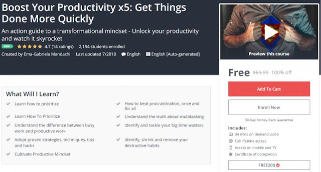 [100% Off] Boost Your Productivity x5: Get Things Done More Quickly| Worth 69,99$