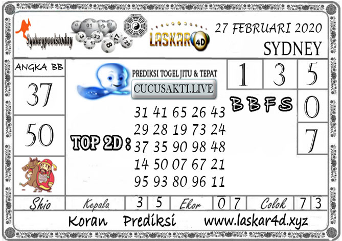 Prediksi Togel SYDNEY LASKAR4D 27 FEBRUARI 2020