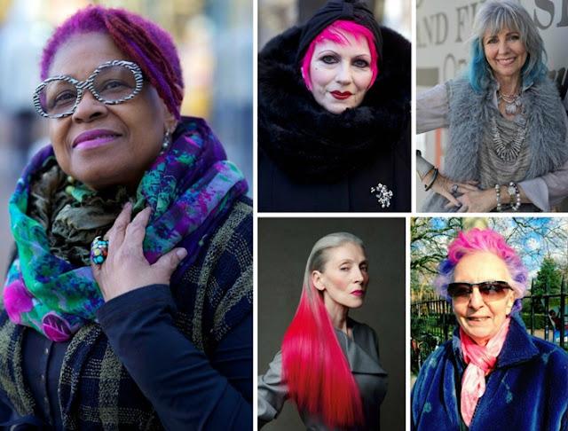 idosas com cabelo colorido