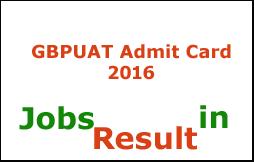 GBPUAT Admit Card 2016