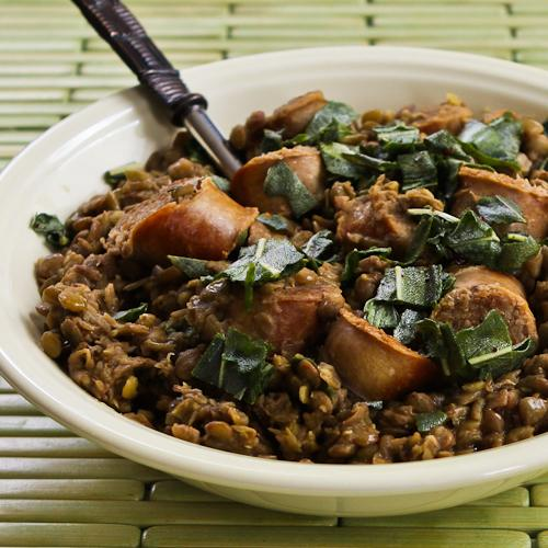 Sausage and Lentils with Fried Sage found on KalynsKitchen.com