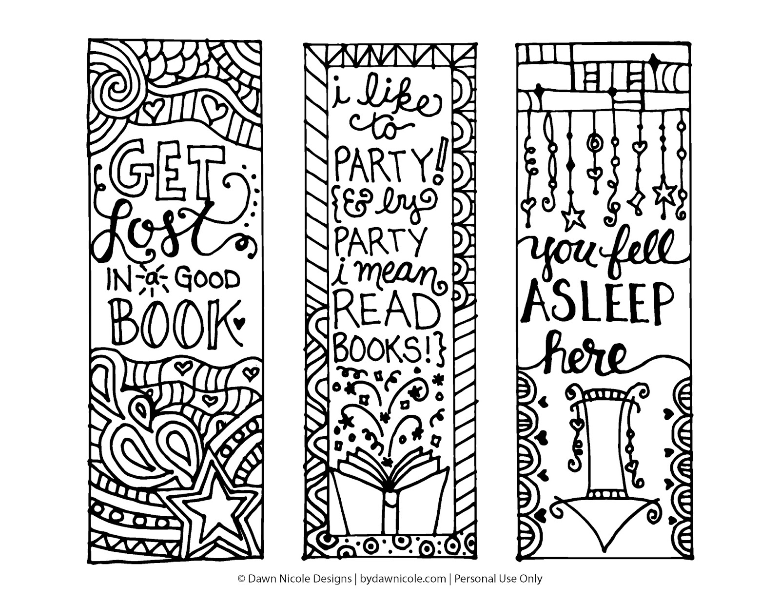 Bookmarks Coloring Page HiResPrintable DawnNicoleDesigns