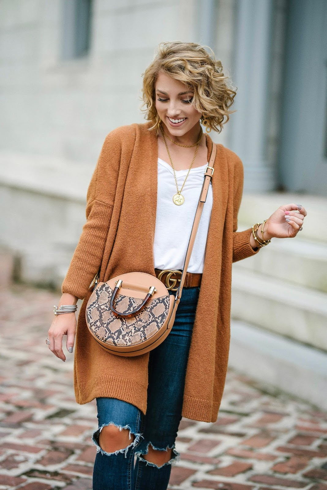 Fall Fashion: $51 Brown Cardigan, Free People Jeans and  Keds x Rifle Paper Co. Sneakers - Something Delightful Blog