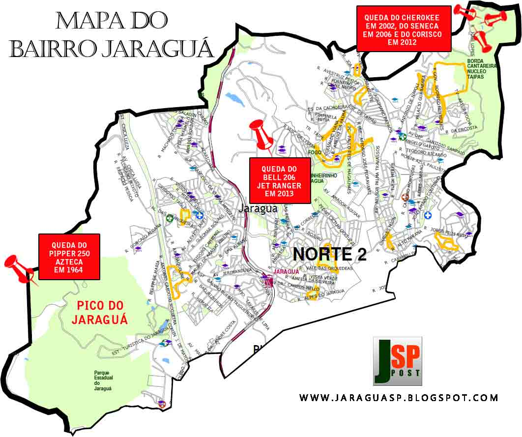 Locais das quedas de aeronaves no Jaraguá (de 1964 a 2013). Imagem: acervo Marinaldo Gomes Pedrosa