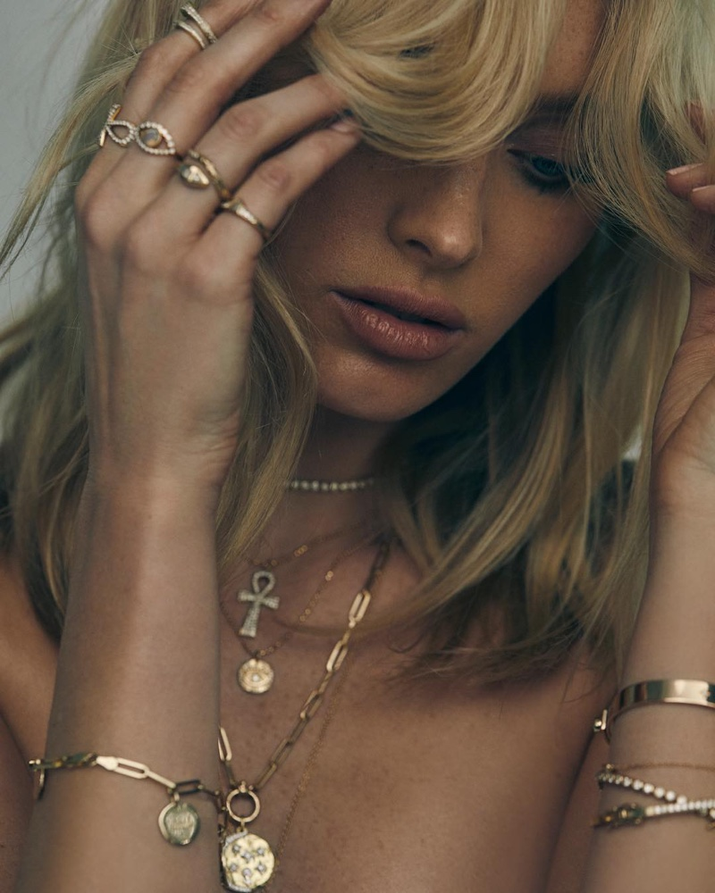 Model Elsa Hosk appears in Logan Hollowell 2019 jewelry campaign