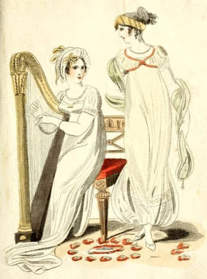 Fashionable afternoon and morning dress from Lady's Magazine (1807)
