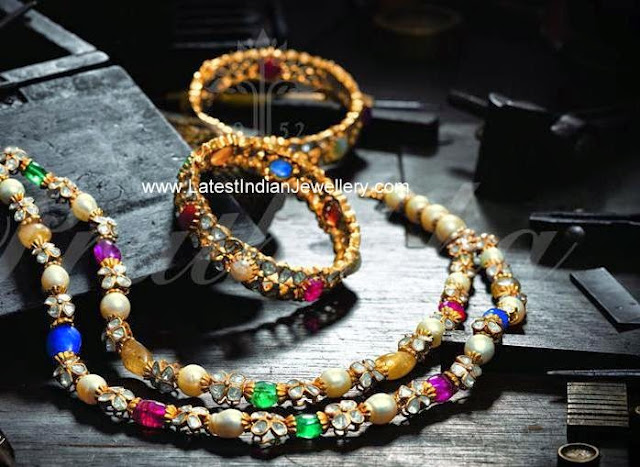 Colorful Beads Necklace and Bangles