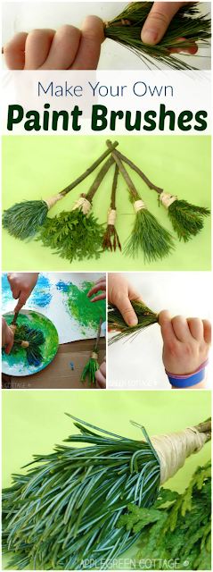 How to make your own nature paint brushes - an easy, fun and free DIY for kids and adults! http://applegreencottage.blogspot.com/2016/03/DIY-nature-paint-brushes-kids.html