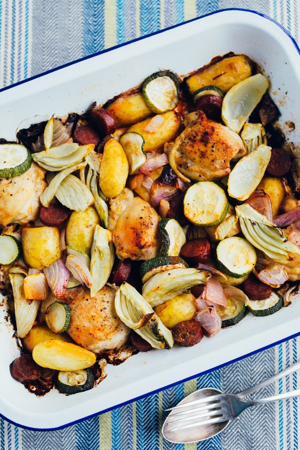How To Bake Chicken, Chorizo And Cornish New Potatoes Tray Roast
