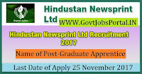 Hindustan Newsprint Limited Recruitment 2017-Graduate Apprentices
