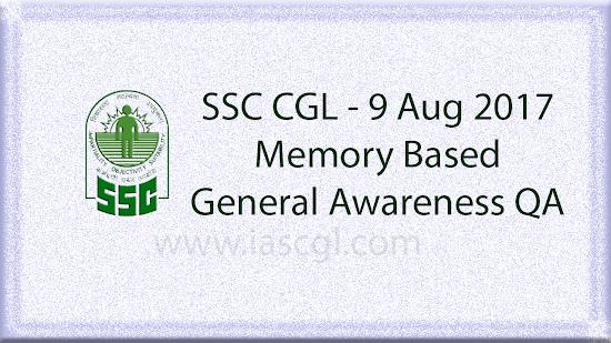 SSC CGL 9 Aug GA