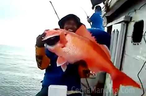 Mancing Dasaran Dapat Ikan Kakap Merah Monster