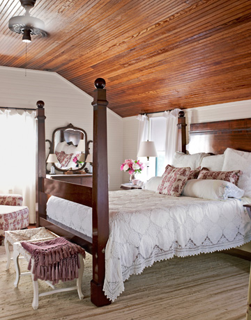 charming modern wood ceiling bedroom   Ticking and Toile: ~farmhouse love...in America~