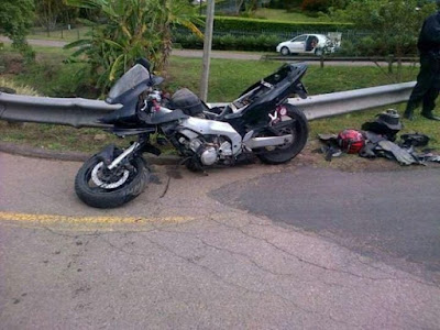 Photo from Buhari's Son accident Scene emerges [SEE HIS WRECKED BIKE]