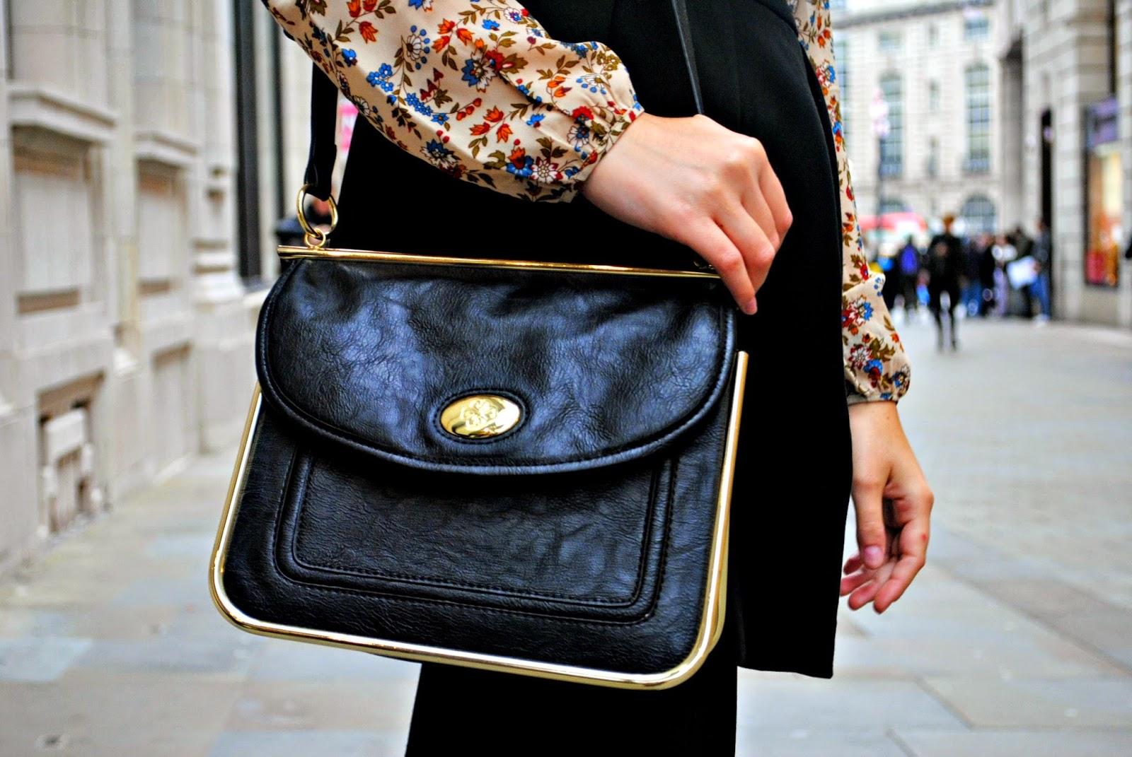 Stradivarius boho vintage blouse with Mischa Barton handbag